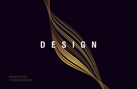 Abstract golden curve of lines texture forming fluid shape on dark background with design copy, poster
