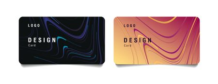 Set of discount or bank cards with fluid premium texture in two colors, dark and loght pink gold, business layout element