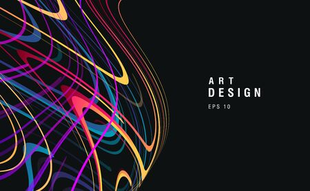 Dark background with colorful laser glow neon waves forming sphere, chaotic movement artistick element, wallpaper cover