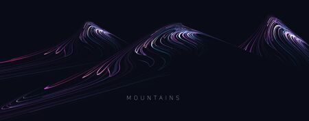 Abstract futuristic lanscape of mountain splopes formed of bright lines with rays of light, dark night design