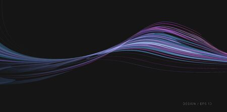 Abstract Fluid wave formed by blue and purple lines, futuristic composition design element in 3d space 일러스트