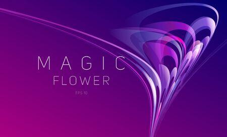 Abstrakte dynamische Komposition von verschwommenen Linien mit Farbverlauf, die eine Blumenblütenzusammensetzung bilden, die sich in chaotischen Vektoren bewegt, Tapeten