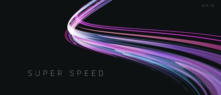 Speed track lights, neon glowing lines abstract composition, gradient purple curve in dark 3d space, wallpaper cover element 일러스트