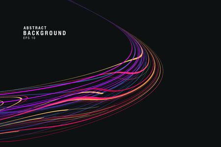 Dark background with colorful track of neon glowing lines, round path of speed lights, abstract composition cover