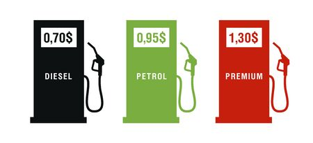 Set of icons of gas station with petrol gun and price for the diesel or petrol, three colors, red, green and black, simple flat signs, isolated 일러스트