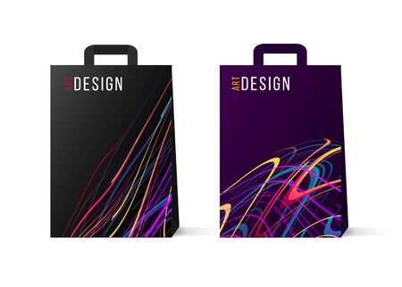 Set of paper shopping bags cover design with abstract neon lines forming dynamic shapes, colorful backdrop 일러스트