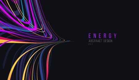 Dark background with colorful laser glow neon lines, chaotic abstract symmetric morror comosition, wallpaper design element