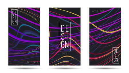 Set of flyers artistic template layout with bright colorful lines moving in chaotic dynamic composition with design copy, web banner template