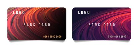 Set of credit bank or discount cards template layout with modern bright abstract backdrop of round curves revolving in circles, warm hot red colors