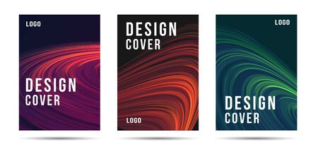 Set of artistic posters or brochure covers or web banners backdrop with abstract fluid lines composition with copy, trendy modern design