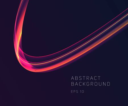 Abstract glowing curve, bright dynamic lines in motion forming wave composition in hot colors, graphic design element