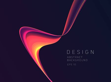 Abstract gradient fluid wave flowing down forming magma shape with bright flare, graphic design element 일러스트