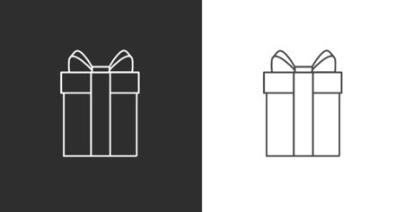 Vector linear icon of a gift box with bow and stripe, white and black options, simple graphic pictogram