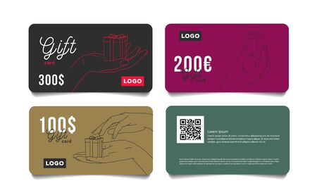 Set of gift cards vouchers with hand giving a small present box in dofferent positions, premium segment template voucher layut for jewelry store gift coupon, invitation, certificate, flyer, banner, ticket 일러스트