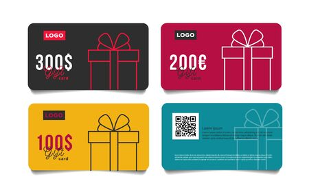 Set of gift cards vouchers with monetary reward in dollars with simple linear gift box illustration, front and back isolated templates with qr code place