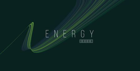 Abstract design element of green energy line texture stripe curve, smooth fluid shape, wallpaper cover, dynamic composition 일러스트