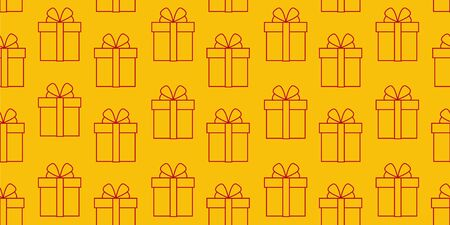 Yellow wrapping with red line gift box icons seamless simple pattern