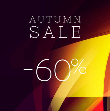 Autumn sale banner with abstract graphic geometry shapes in golden colours with per cent