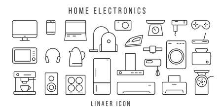 Stock vector illustration of a set of linear icons of electronic equipment and kitchen household electronics and gadgets