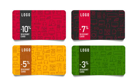 Set of discount cards with linear icon illustrations of home, kitchen and smart electronics, sale with percent interest