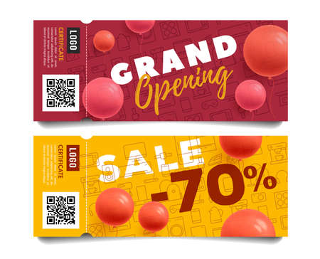 Set of admission tickets for grand opening event for electronic shop with line icons and discounts on home, kitchen and electronics and gadgets