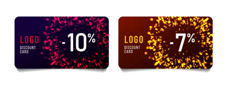 Set of discount cards for Christmas or festive sale with place for logo and fireworks abstract burst illustration in gold and red, isolated