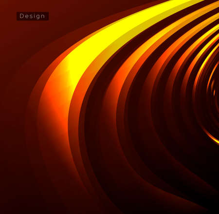 Abstract futuristic background with golden metal cirular waves forming texture in 2d dark space, cover or ornament