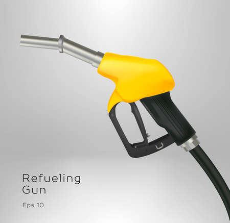 Realistic vector illustration of gas gun, gasoline petrol dispenser in yellow and black colors with metal nozzle Ilustrace