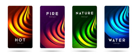 Set of flyers or poster banners with four 3d elements, fire, water and nature, cover design