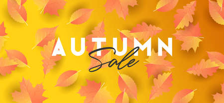 Autumn seasonal background with falling realistic gradient leaves with typography composition for sale