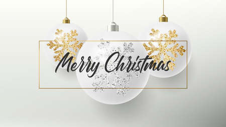 Merry Christmas greeting card or poster with white realistic Christmas balls hanging in a frame with calligraphy copy and golden and silver snowflakes illustration sparkle on them Stock fotó