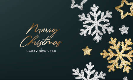 Merry Christmas and Happy new year greeting card or poster with shiny illustration of golden and silver snowflakes and stars, close up on dark background