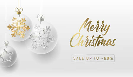Merry Christmas greeting card or promo poster with white realistic Christmas balls with golden and silver snowflakes ornament sparkle on them, golden calligraphy copy Illusztráció