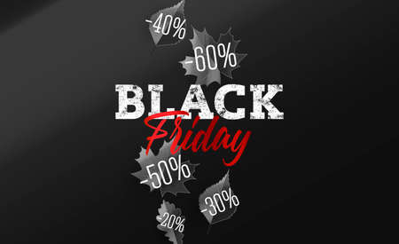 Black Friday Sale with autumn leaves with sale discount percent numbers falling down and typography label