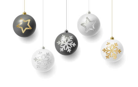 Christmas balls hanging on strings, white and black colour with silver and golden illustrations of snowflakes and stars, luxury premium gift
