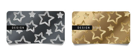 Set of festive greeting cards for Christmas and new year with illustration of shiny golden and silver stars, discount card layout layout template