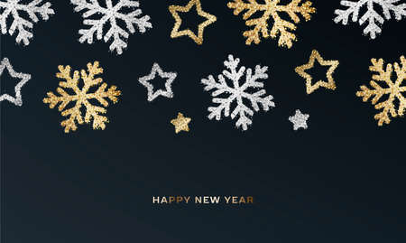 Background with silver and golden metal particles forming shiny shapes of snowflakes and stars on dark night sky, cover presentation design