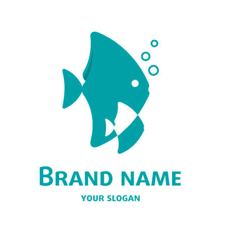 Illustration of fish adult and child, corporate identity symbol, childish cartoon graphic, brand style, isolated with copy