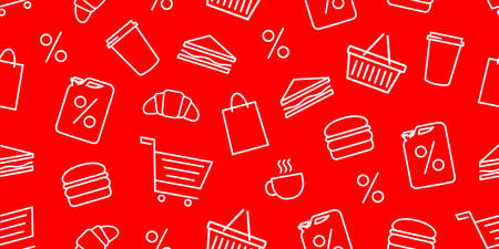 Shopping seamless pattern with food and beverages and cart basket outline icons on red backdrop, wrapping paper design