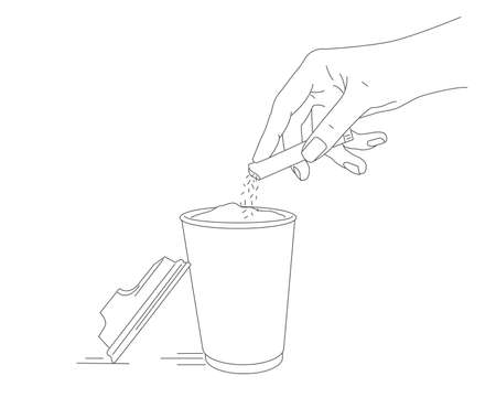 Line illustration of hand pouring sugar from sugar stick into paper cup, coffee or tea hot beverage ready to go