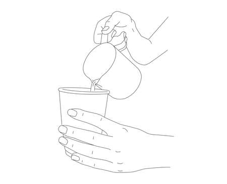 Line illustration of human hands pouring milk or hot water from milk shaker into paper cup, barista making coffee latte, hand drawn sketch
