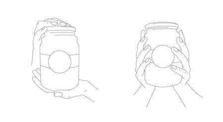 Hand holding food jar with jam, glass bottle with label, two positions of hands, presenting and giving, line illustration