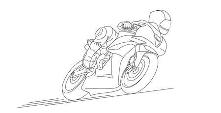 Line illustration of motorcycle rider in motion, high speed movement dynamic composition, isolated