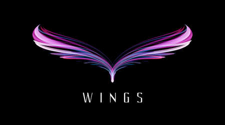 Abstract symmetry bird wings, glowing neon lights forming fantasy bird shape, puple modern graphic element