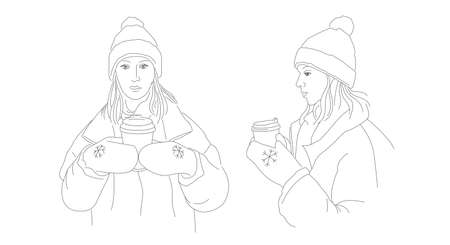 Beautiful girl drinking hot coffee or tea. Vector illustration/