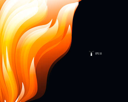 Abstract background for design with bright graphic element of fire flames, smooth 3d forms on dark backdrop, cover composition