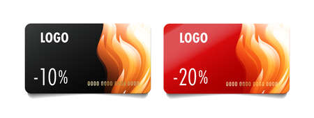 Set of discount cards or loyalty programme cards with percent discount and abstract fire illustration, hot sale season Stock fotó