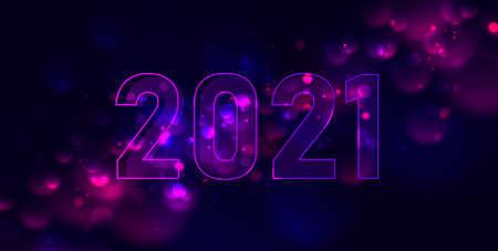 Shiny new year greeting background with glowing effext in the night sky and 2021 figures