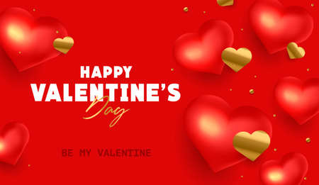 Happy Valentines Day holiday banner with 3d red hearts on bright red background with golden confetti in shape of hearts with calligraphy greeting
