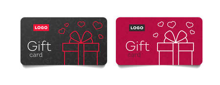 Gift cards template with linear gift box with hearts flying out, valentines day voucher for shopping
